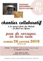 Chantier collaboratif en Savoie : pose de CARREAUX EN TERRE CUITE à la maison forte des Rubods, St Paul-sur-Yenne, le samedi 26 janvier 2019
